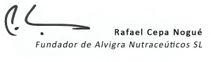 Firma de Rafael Cepa, fundador de Alvigra Nutraceúticos SL