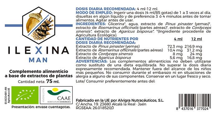 Etiqueta Ilexina Man, adaptogeno hormonal para menopausia