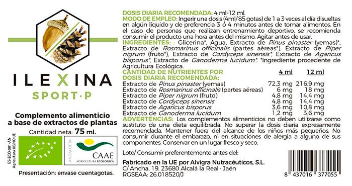 Etiqueta Ilexina Sport P-adaptogeno y nootropico para deportistas